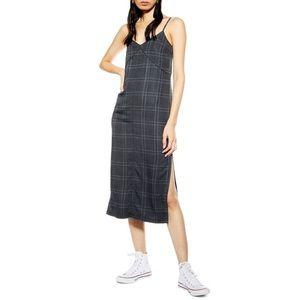 NEW TopShop Check Denim Midi Dress Size 12